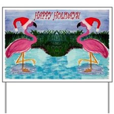 Santa Flamingo Holiday Yard Sign