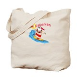Hawaiian Christmas Surfing Santa T-shirt Tote Bag