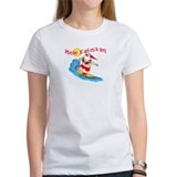 Hawaiian Christmas Surfing Santa T-shirt Tee