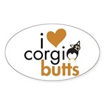 I Heart Corgi Butts - BHT Oval Sticker (10 pk)