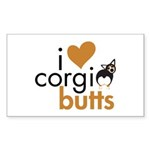 I Heart Corgi Butts - BHT Rectangle Sticker 50 pk