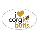 I Heart Corgi Butts - Sable Oval Sticker (10 pk)