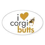 I Heart Corgi Butts - Sable Oval Sticker (10 pk)