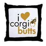 I Heart Corgi Butts - Sable Throw Pillow