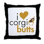 I Heart Corgi Butts - Sable Throw Pillow