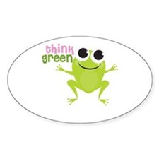 "Cute Frog & ""Think Green"" Oval Decal"