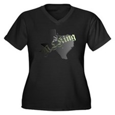MLKing Women's Plus Size V-Neck Dark T-Shirt