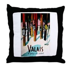 Retro Ski Skier Skiing Throw Pillow