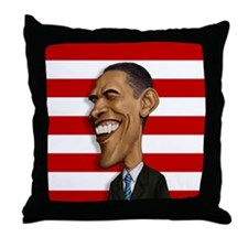 Barack Obama Caricature Throw Pillow
