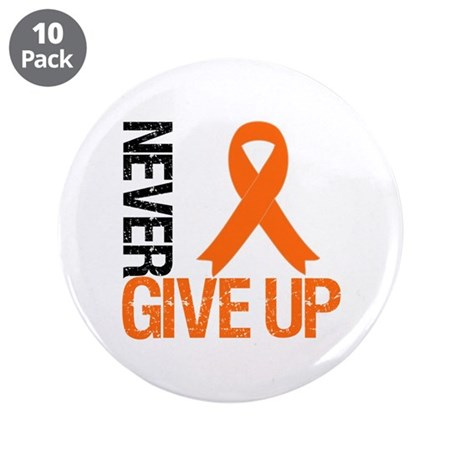 "NeverGiveUp OrangeRibbon 3.5"" Button (10 pack)"