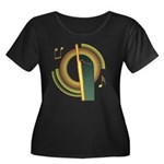 Bassoon Deco Women's Plus Size Scoop Neck Dark Tee