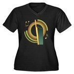 Bassoon Deco Women's Plus Size V-Neck Dark T-Shirt