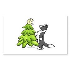 Border Collie Christmas Rectangle Decal