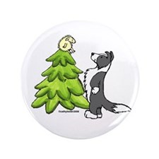"Border Collie Christmas 3.5"" Button"