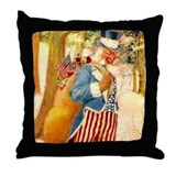 Uncle Sam Santa Claus Big 18x18 Throw Pillow