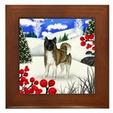 AKITA DOG WINTER BERRIES Framed Tile
