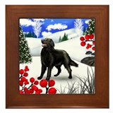 FLAT COATED RETRIEVER DOG WINTER Framed Tile