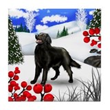 FLAT COATED RETRIEVER DOG WINTER Tile Coaster