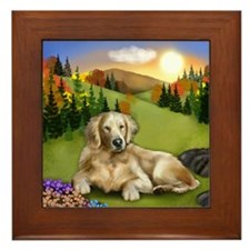 GOLDEN RETRIEVER DOG FALL SUNSET Framed Tile