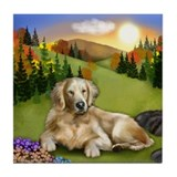 GOLDEN RETRIEVER DOG FALL SUNSET Tile Coaster