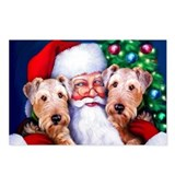 Santa's Airedales Christmas Postcards (Package of
