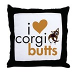 I Heart Corgi Butts - Brindle Cardi Throw Pillow
