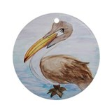 Brown Pelican Ornament (Round)