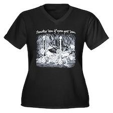 Burning Books Women's Plus Size V-Neck Dark T-Shir