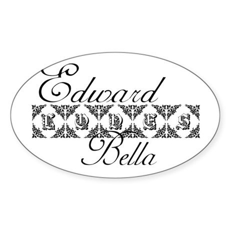 Edward Loves Bella Twilight Oval Sticker (50 pk)