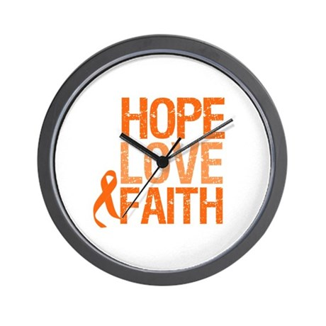Kidney Cancer HopeLoveFaith Wall Clock