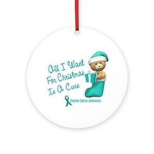 Bear In Stocking 1 (Ovarian Cancer) Ornament (Roun