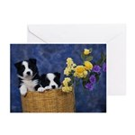 Retro Border Collie Greeting Cards