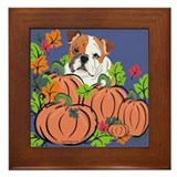 Bulldog in Pumpkin Patch Framed Tile