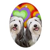 BEARDED COLLIE DOGS LOVE HEARTS Oval Ornament