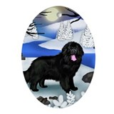 NEWFOUNDLAND DOG FROZEN RIVER Oval Ornament