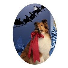 Sheltie & Santa Ornament