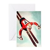 Retro Ski Skier Skiing Greeting Card