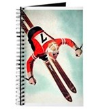 Retro Ski Skier Skiing Journal