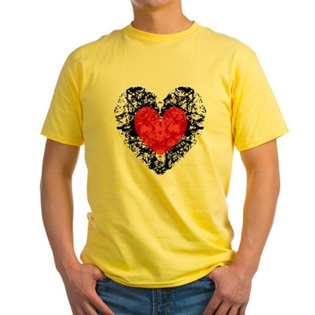 Pretty Grunge Heart Yellow T-Shirt