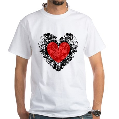 Pretty Grunge Heart White T-Shirt