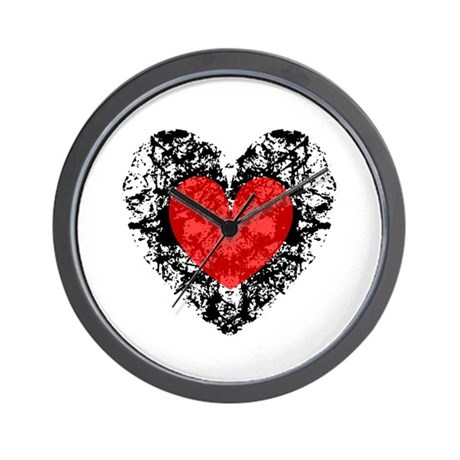Pretty Grunge Heart Wall Clock
