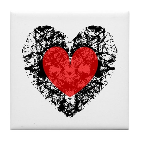 Pretty Grunge Heart Tile Coaster