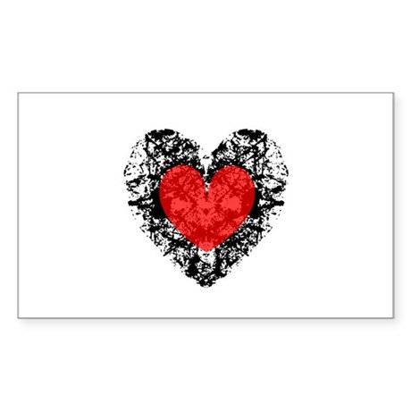 Pretty Grunge Heart Rectangle Sticker
