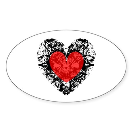 Pretty Grunge Heart Oval Sticker