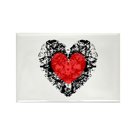 Pretty Grunge Heart Rectangle Magnet (10 pack)