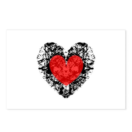 Pretty Grunge Heart Postcards (Package of 8)