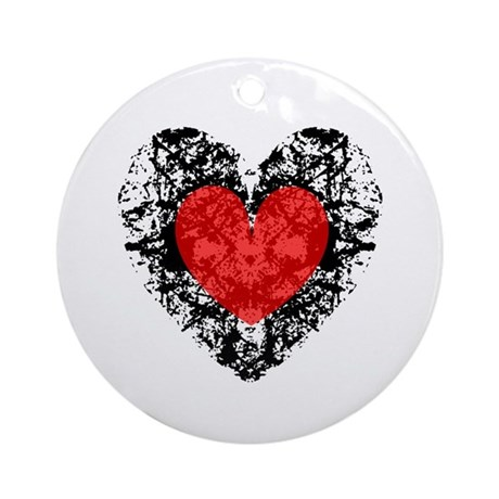 Pretty Grunge Heart Ornament (Round)