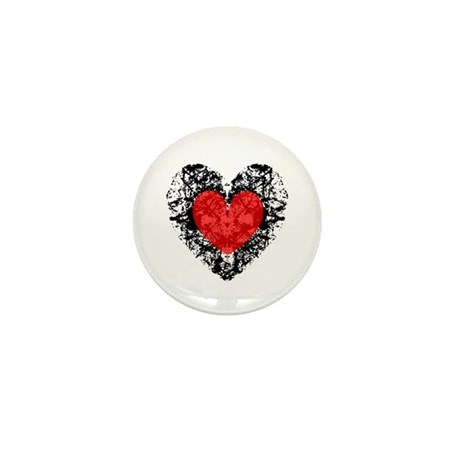 Pretty Grunge Heart Mini Button (10 pack)