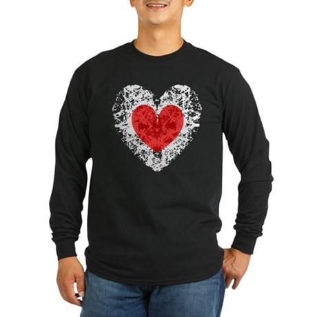 Pretty Grunge Heart Long Sleeve Dark T-Shirt