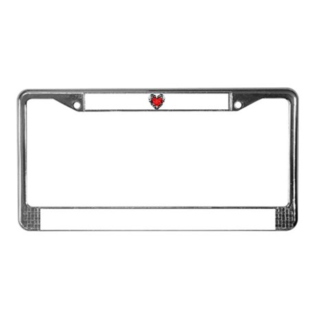 Pretty Grunge Heart License Plate Frame